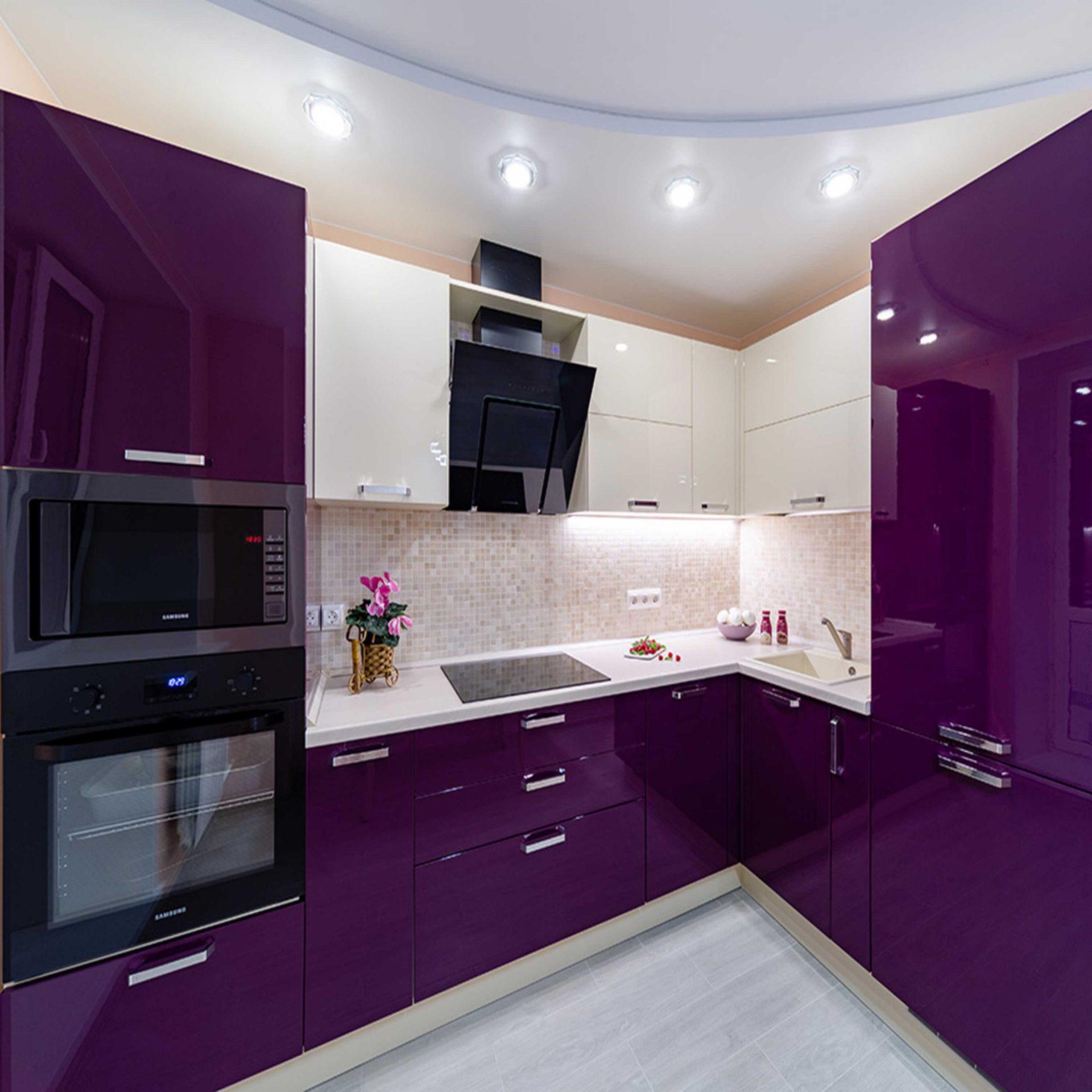 Пурпурная угловая кухня