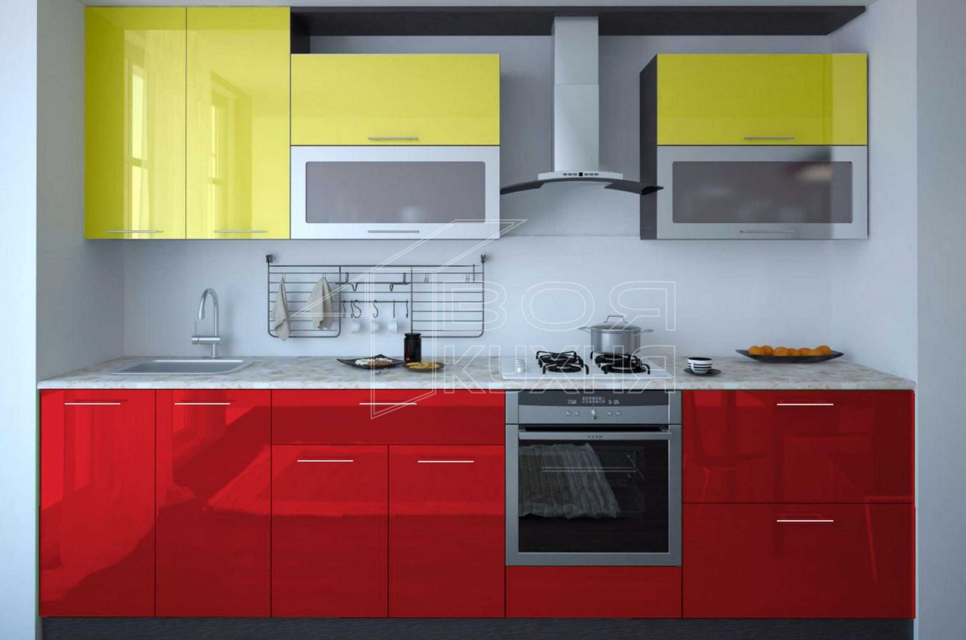 Красно-салатовая прямая кухня для маленьких помещений