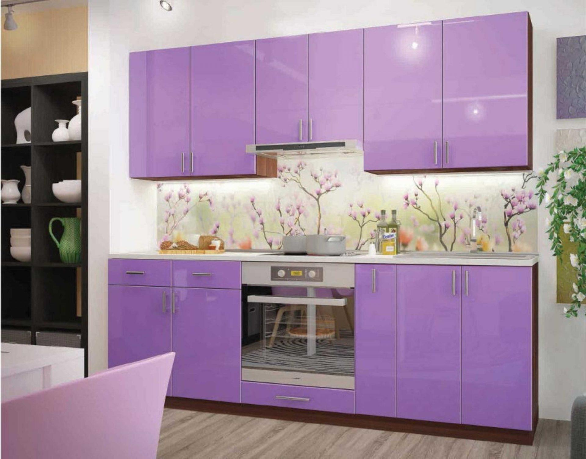 Фиолетовая прямая кухня