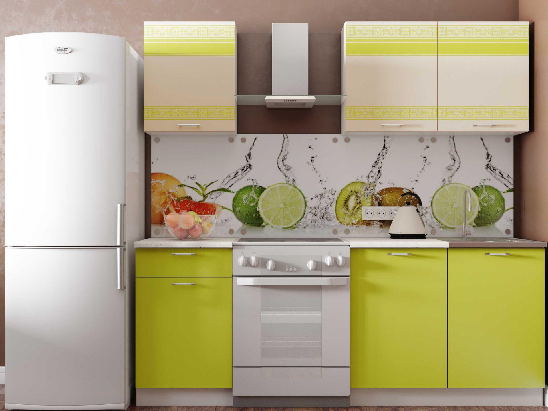 Салатаво-белая кухня
